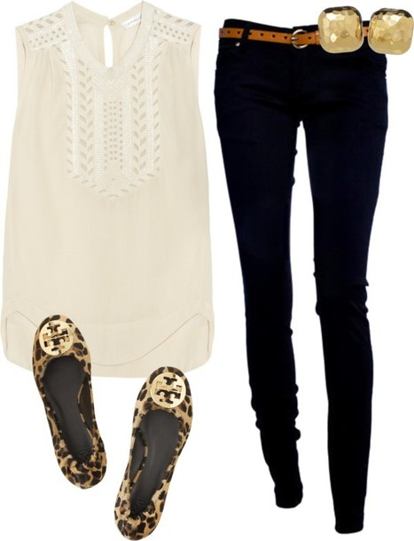 shoes tory burch tank top casual leopard print gold stud earrings cream blouse cut-out blouse pants