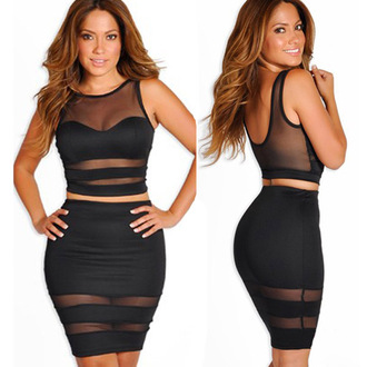 dress black white crop tops skirt crop tops mesh backless 2 peice two-piece two-piece ivy queen tamar braxton
