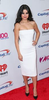 dress,strapless,midi dress,white dress,bustier dress,selena gomez,pumps,shoes,white,bodycon,bodycon dress,midi,strapless dress,celebrity,celebrity style,celebstyle for less,selena,red carpet,red carpet dress,party dress,sexy party dresses,sexy,sexy dress,summer,summer dress,spring dress,summer outfits,spring outfits,fall dress,fall outfits,classy,classy dress,cocktail,cocktail dress,date outfit,birthday dress,summer holidays,trendy,style,dope,cute,cute dress,girly,girly dress,stylish,prom,prom dress,white prom dress,short prom dress,romantic,romantic dress,romantic summer dress,graduation dress