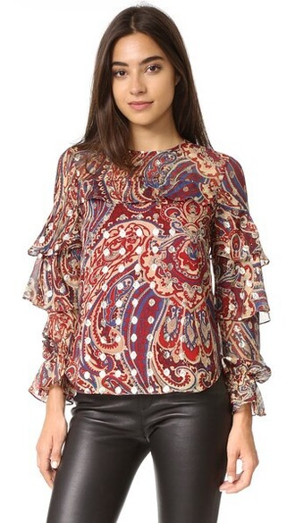 blouse metallic ruffle top