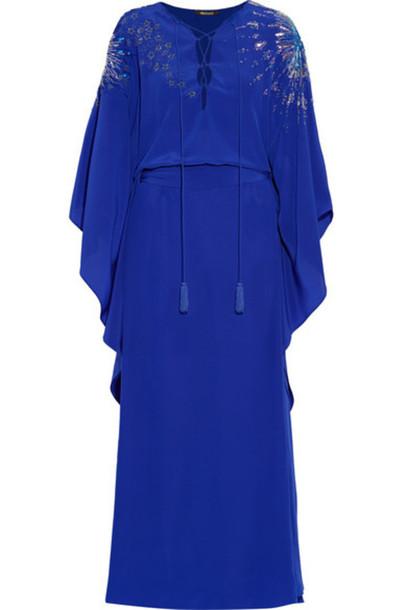 Roberto Cavalli - Embellished Silk Crepe De Chine Gown - Royal blue