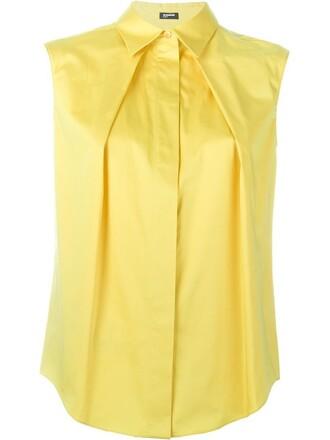 shirt pleated yellow orange top