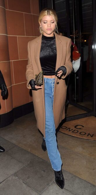 coat camel camel coat jeans denim sofia richie top fall outfits velvet velvet top high neck