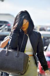 jacket,bomber jacket,black bomber jacket,black jacket,kylie jenner,bag,skirt,shirt,givenchy,givenchy bag,antigona,givenchy antigona,grey,grey bag,crocodile,croco print