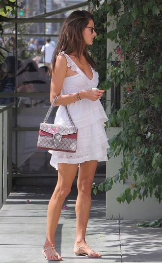 dress white white dress summer dress summer outfits sandals alessandra ambrosio purse bag dionysus