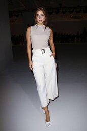 pants,barbara palvin,model off-duty,fashion week,wide-leg pants,celebrity