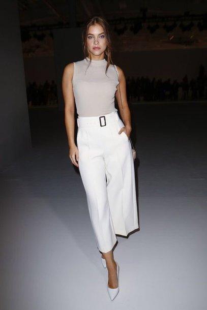 pants barbara palvin model off-duty fashion week wide-leg pants celebrity