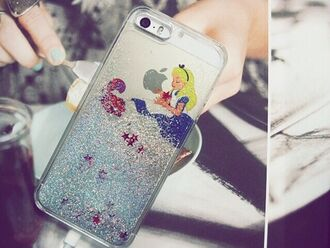 phone cover iphone case iphone cover alice in wonderland glitter phone case