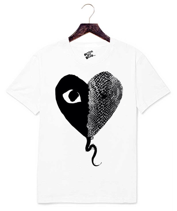 t-shirt comme des garcons play eye white cotton better off dead fucked up fiends anti anti