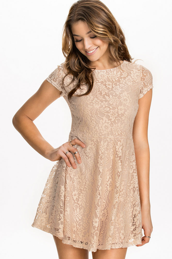 461bf53408ce fabulous short sleeves lace skater dress - 026061