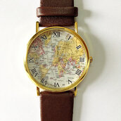 jewels,leather watch,brown,vintage style,accessories,jewelry,fashion,freeforme,watch,map watch