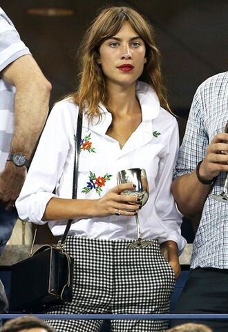 shirt embroidered white shirt alexa chung celebrity style celebrity checkered pants checkered bag black bag shoulder bag