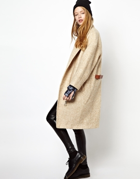 Eleven Paris | Eleven Paris Taylor Cream Overcoat with Leather Tabs at ASOS