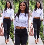 shirt,karrueche,t-shirt,jeans,high heels,cropped,jacket