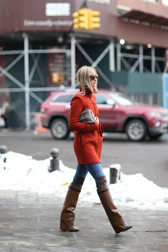 the fashion guitar blogger brown leather boots red coat