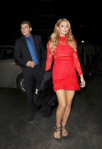 dress red dress red paris hilton pumps lace dress mini dress