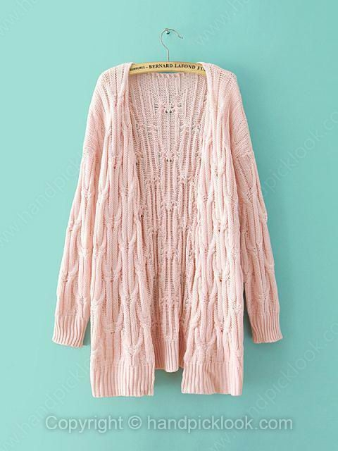 Pink Long Sleeve Hollow Wool Knit Top - HandpickLook.com