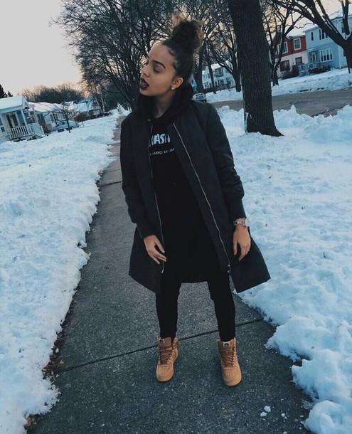 Jacket coat black jacket winter outfits bomber jacket baddies - Wheretoget