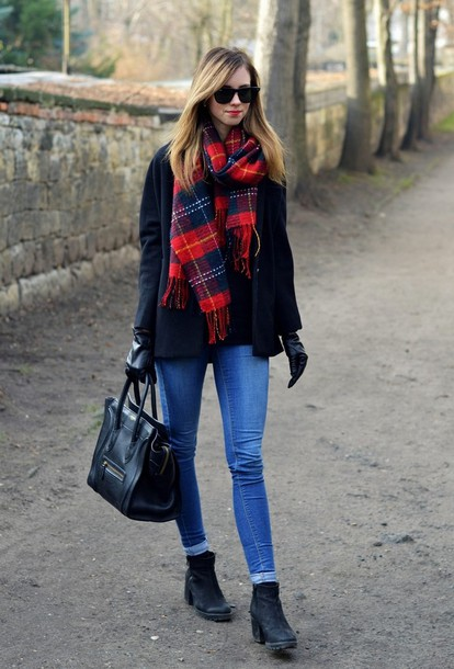 vogue haus sweater jeans coat scarf shoes bag jewels sunglasses
