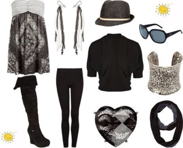 hat shirt scarf dress earrings ring bracelets sunglasses leggings high heels boots