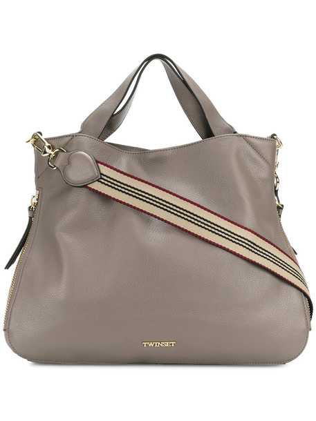Twin-Set - logo plaque shoulder bag - women - Bos Taurus/Calf Leather/Leather/Polyester - One Size, Grey, Bos Taurus/Calf Leather/Leather/Polyester