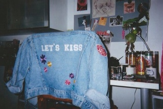 jacket vintage denim denim jacket kiss me