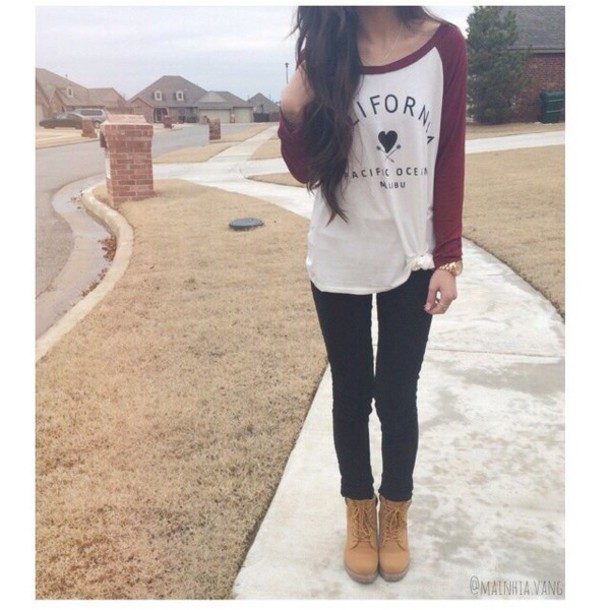 Top Red Baseball Cute Tumblr Outfit