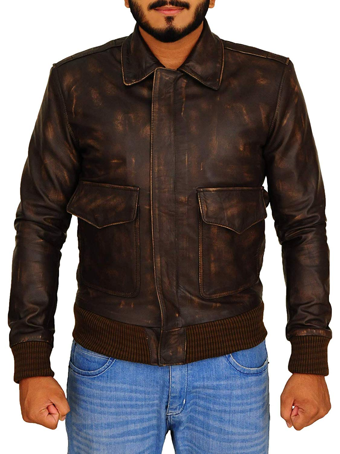 TrendHoop Aviator Mens A2 Distressed Brown Real Leather Bomber Flight Jacket at Amazon Men's Clothing store: