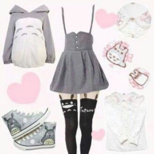 8bd633b3cfa dress totoro grey anime buttons suspenders skirt with suspenders