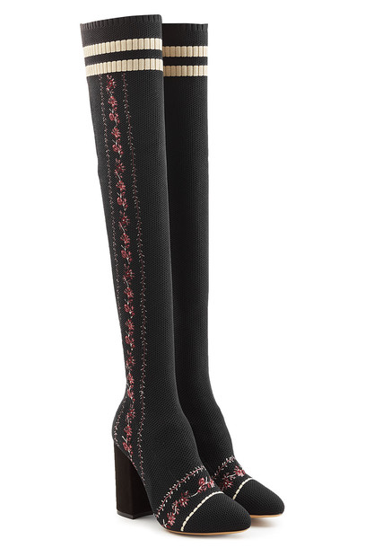 Tabitha Simmons Irina Embroidered Mesh Thigh-High Boots  in black