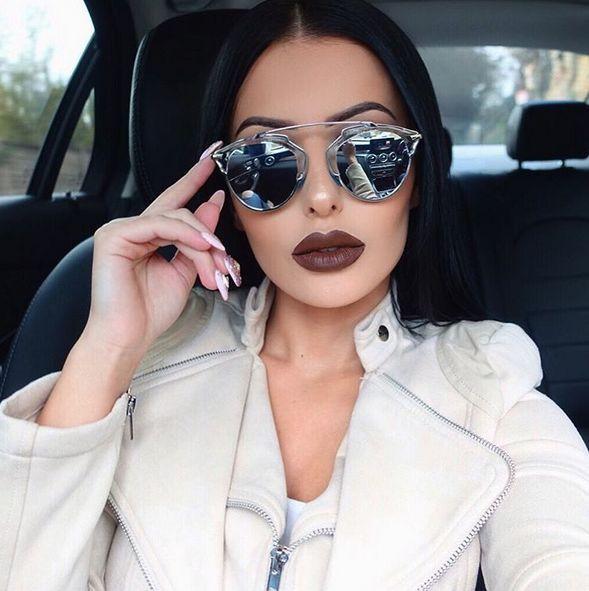 dea0d518680 So Real Mirror Lenses Futuristic Cat Eye Aviator Women Sunglasses