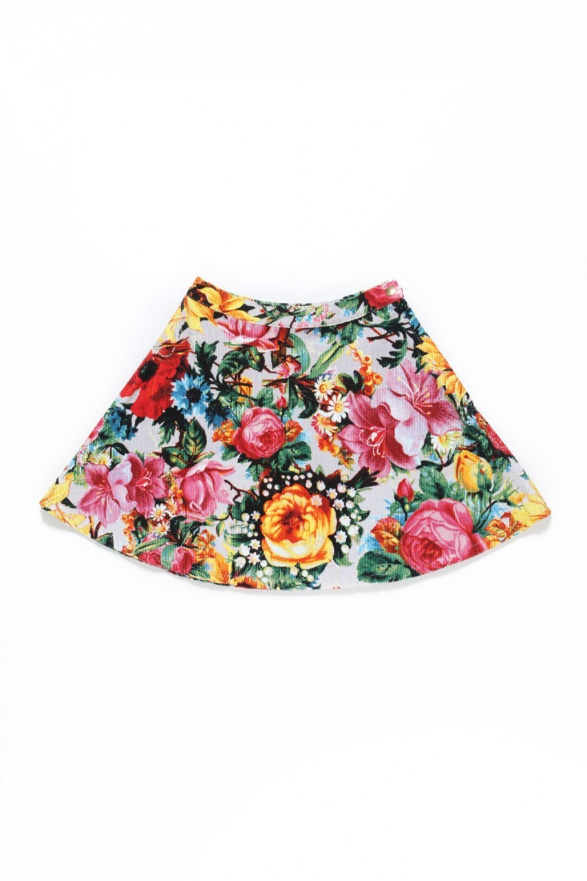 SUNRISE BLOSSOM CIRCLE SKIRT / GRAY - JOYRICH Store