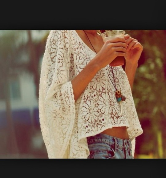 boho shirt lace big shirt