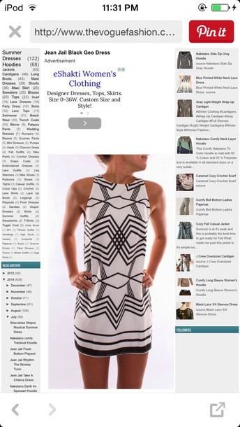 dress tribal pattern black and white