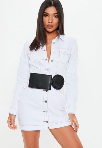 Missguided - Petite White Button Through Contrast Stitch Denim Dress