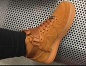 shoes,nike,nike shoes,suede sneakers,brown sneakers,brown,nike air force 1