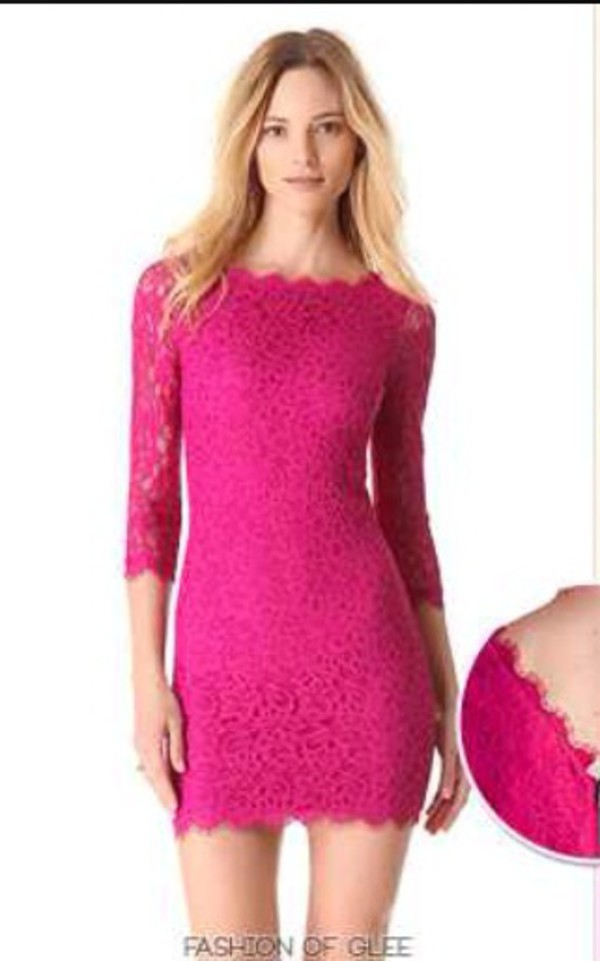 Long Sleeve Hot Pink Lace Dress - Dress