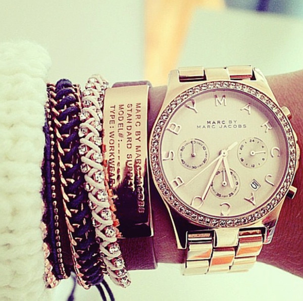 jewels marc by marc jacobs gold watch gold bracelet bracelets gold