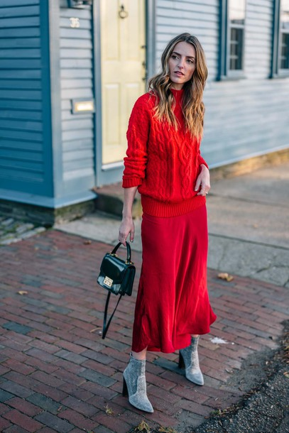 sweater tumblr all red wishlist knit knitwear knitted sweater red sweater sweater weather skirt red skirt midi skirt boots silver boots ankle boots bag mini bag