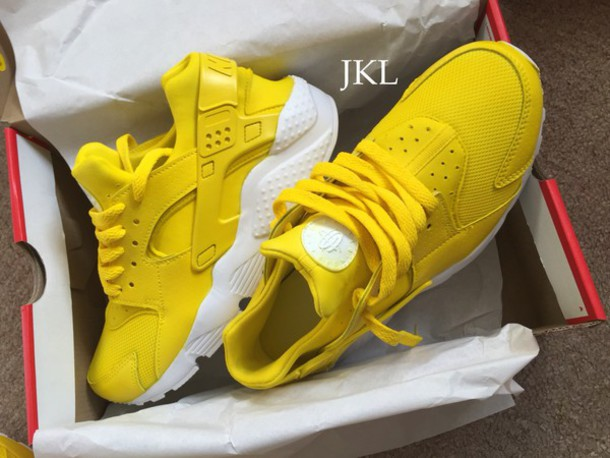 shoes, yellow huarache, nike, nike sneakers, nike running shoes, nike shoes,  yellow nike huaraches, customized nike huaraches, huarache , Wheretoget