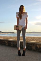 skinny,slim,stripes,blue,white,tuula,beige bag,white shirt,pants,shirt,bag