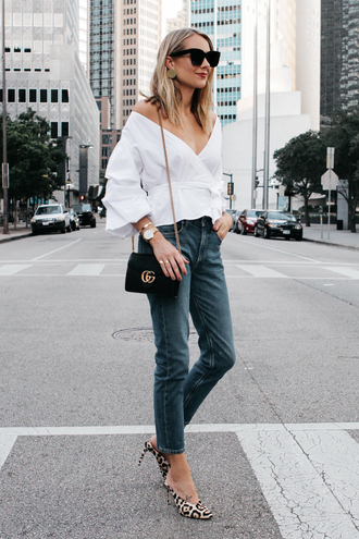 fashionjackson blogger top shoes bag sunglasses jewels pumps gucci bag white top fall outfits