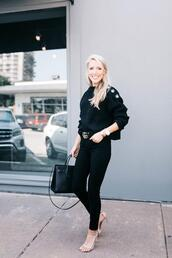 krystal schlegel,blogger,belt,t-shirt,jeans,dress,fall outfits,high heel sandals,gucci belt,black sweater,black jeans