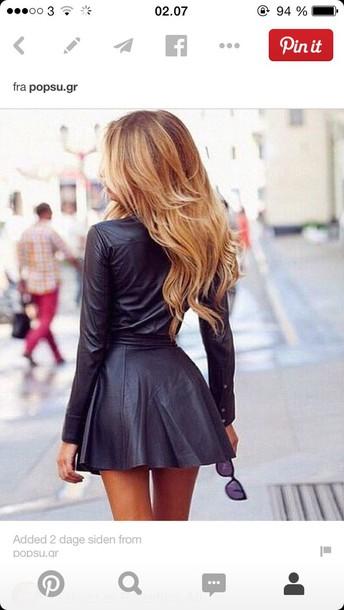 dress leather black skater dresss