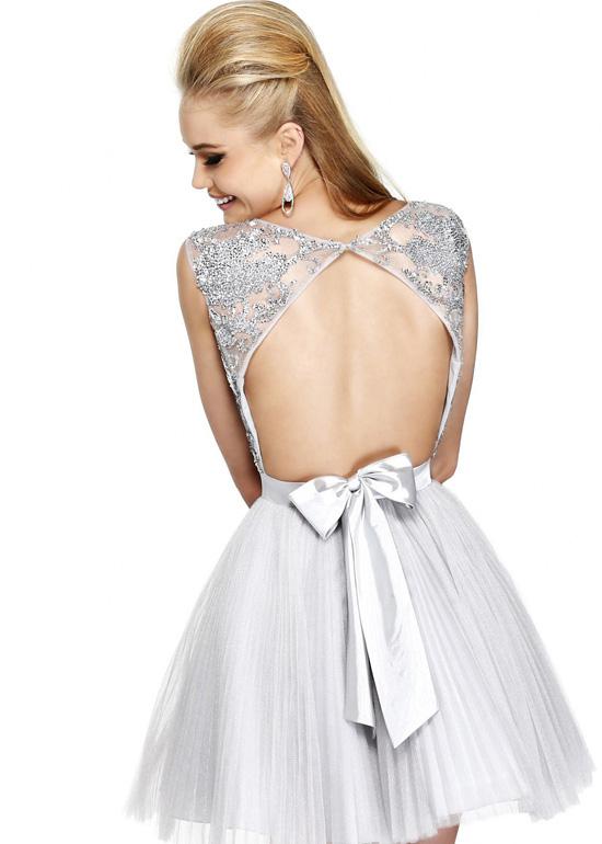 Cheap Beaded Gunmetal Open Back Cap Sleeves Short Prom Dress [Sherri ...