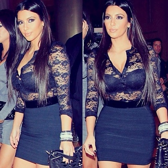 kim kardashian sexy shirt gorgeous black lace keeping up with the kardashians skirt