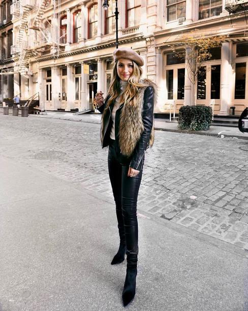 shoes tumblr boots black boots ankle boots pants black pants leather pants black leather pants vest faux fur vest beret