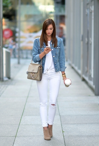 vogue haus blogger shirt jeans jacket shoes bag hat jewels denim jacket white top white jeans ripped jeans nude boots beige ankle boots shoulder bag chloe faye bag grey bag white ripped jeans booties jean jackets white