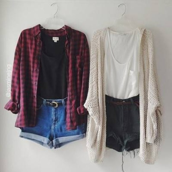 flannel shirt cardigan denim shorts fall outfits