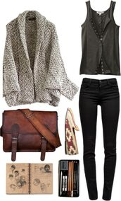 tank top,bag,sweater,shoes,jeans,fall outfits,back to school,oversized cardigan,college,smoking slippers,blouse,jacket,shirt,coat,messenger bag,brown leather,brown leather bag,leather bag,vintage,distressed leather,green,clips,button up,button up blouse,button up shirt,black,warm,warm sweater,brown shoes,brown bag,tight,comfy,casual,comfy sweater,sleeveless top,cardigan,grey,corset front,gray tanktop,hipster,bags and purses,satchel bag,brown,minimalist,cute,boho